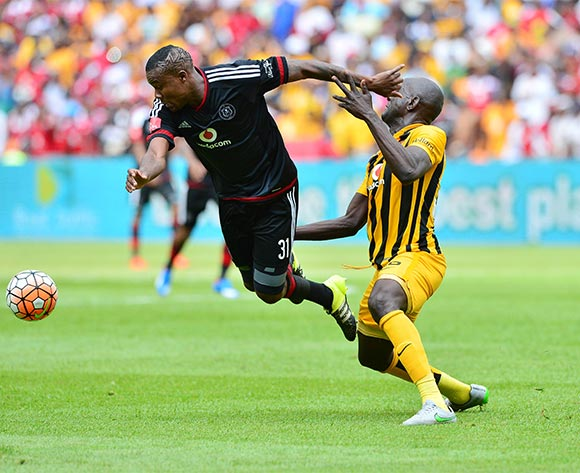 Thamsanqa Gabuza of Orlando Pirates fouled by Ivan Bukenya of Kaizer Chiefs during the 2015/16 Absa Premiership football match between Kaizer Chiefs and Orlando Pirates at Soccer City in Johannesburg, South Africa on 31 October 2015 ©Gavin Barker/BackpagePix