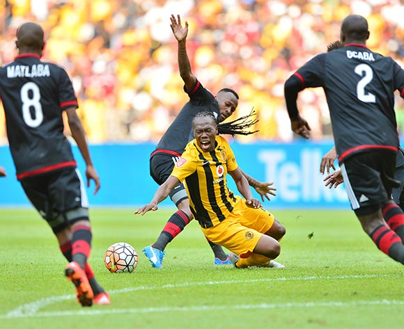 Reneilwe Letsholonyane of Kaizer Chiefs fouled by Mpho Makola of Orlando Pirates during the 2015/16 Absa Premiership football match between Kaizer Chiefs and Orlando Pirates at Soccer City in Johannesburg, South Africa on 31 October 2015 ©Gavin Barker/BackpagePix