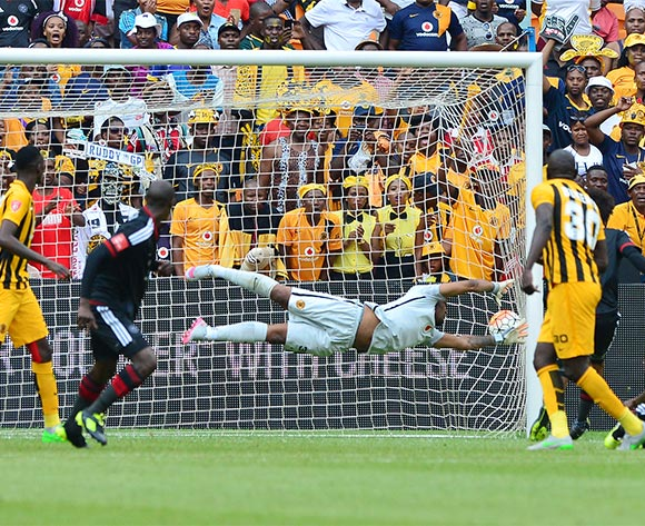Ayanda Gcaba of Orlando Pirates scores goal past Itumeleng Khune of Kaizer Chiefs during the 2015/16 Absa Premiership football match between Kaizer Chiefs and Orlando Pirates at Soccer City in Johannesburg, South Africa on 31 October 2015 ©Gavin Barker/BackpagePix