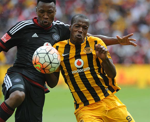 Siyabonga Sangweni of Orlando Pirates challenges Camaldine Abraw of Kaizer Chiefs  during the Absa Premiership match between Kaizer Chiefs and Orlando Pirates  on 31 October 2015 at FNB Stadium Pic Sydney Mahlangu/ BackpagePix