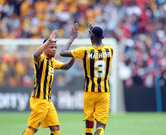 Erick Mathoho of Kaizer Chiefs(R) celebrates a goal with George Lebese of Kaizer Chiefs during the Absa Premiership match between Kaizer Chiefs and Orlando Pirates  on 31 October 2015 at FNB Stadium Pic Sydney Mahlangu/ BackpagePix