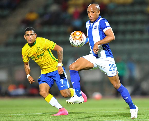 Kurt Lenjies of Maritzburg United challenged by Keagan Dolly of Mamelodi Sundowns during the Absa Premiership match between Mamelodi Sundowns and Maritzburg United at the Lucas Moripe Stadium in Pretoria, South Africa on October 31, 2015 ©Samuel Shivambu/BackpagePix