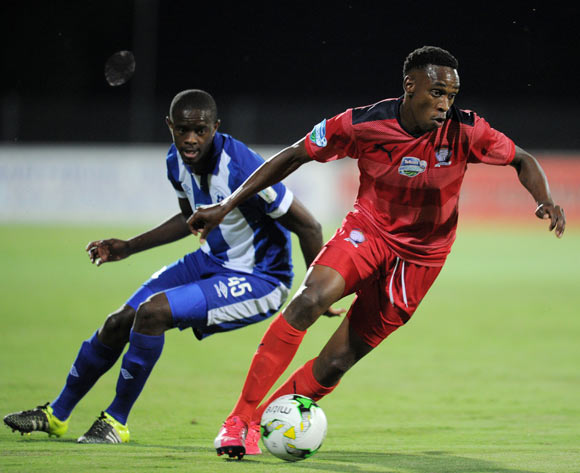 Mxolisi Macuphu of Jomo Cosmos challenged by Kwanda Mngonyama of Maritzburg United during the 2015 Telkom Knockout match between Maritzburg United and Jomo Cosmos at Harry Gwala Stadium, Pietermaritzburg on the 02 October 2015 ©Muzi Ntombela/BackpagePix