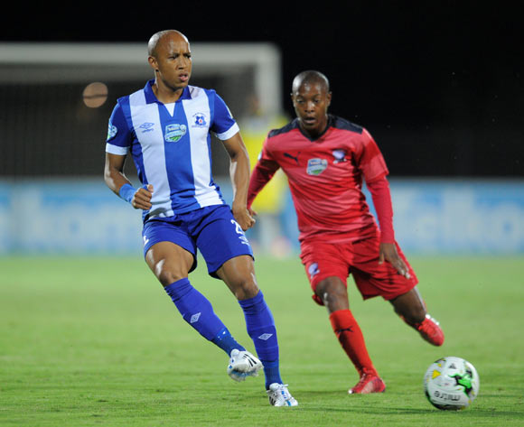 Kurt Lentjies of Maritzburg United challenged by Thato Sithole of Jomo Cosmos during the 2015 Telkom Knockout match between Maritzburg United and Jomo Cosmos at Harry Gwala Stadium, Pietermaritzburg on the 02 October 2015 ©Muzi Ntombela/BackpagePix
