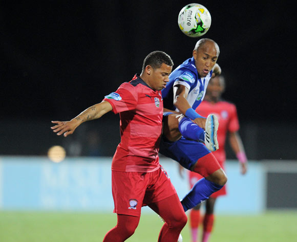 Cheslyn Jampies of Jomo Cosmos battles with Kurt Lentjies of Maritzburg United during the 2015 Telkom Knockout match between Maritzburg United and Jomo Cosmos at Harry Gwala Stadium, Pietermaritzburg on the 02 October 2015 ©Muzi Ntombela/BackpagePix