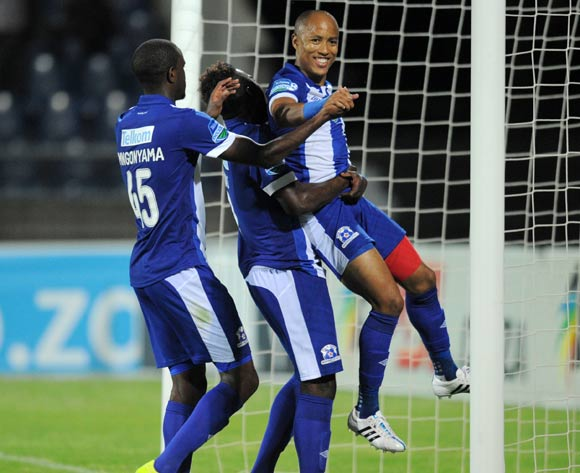 Kurt Lentjies of Maritzburg United celebrates his goal with teammates during the 2015 Telkom Knockout match between Maritzburg United and Jomo Cosmos at Harry Gwala Stadium, Pietermaritzburg on the 02 October 2015 ©Muzi Ntombela/BackpagePix