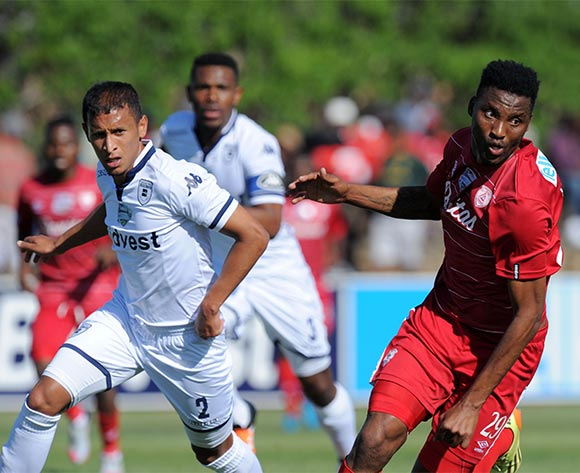 Sthembiso Ngcobo of Free State Stars challenged by Nazeer Allie of Bidvest Wits during the 2015 Telkom Knockout match between Free State Stars and Bidvest Wits at Goble Park Stadium, Bethlehem on the 03 October 2015 ©Muzi Ntombela/BackpagePix