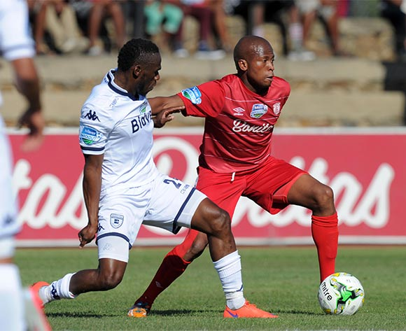 Danny Venter of Free State Stars challenged by Onismor Bhasera of Bidvest Wits  during the 2015 Telkom Knockout match between Free State Stars and Bidvest Wits at Goble Park Stadium, Bethlehem on the 03 October 2015 ©Muzi Ntombela/BackpagePix