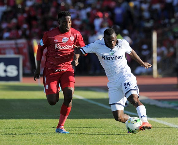 Onismor Bhasera of Bidvest Wits challenged by Moeketsi Sekola of Free State Stars during the 2015 Telkom Knockout match between Free State Stars and Bidvest Wits at Goble Park Stadium, Bethlehem on the 03 October 2015 ©Muzi Ntombela/BackpagePix