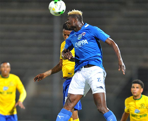 Aristide Bance of Chippa United challenged by Bongani Zungu of Mamelodi Sundowns during the 2015 Telkom Knockout match between Mamelodi Sundowns and Chippa United at the Lucas Moripe Stadium in Pretoria, South Africa on October 03, 2015 ©Samuel Shivambu/BackpagePix