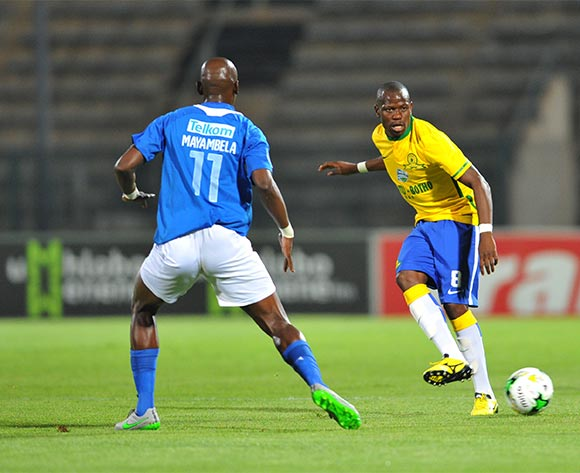 Hlompho Kekana of Mamelodi Sundowns challenged by Mark Mayambela of Chippa United during the 2015 Telkom Knockout match between Mamelodi Sundowns and Chippa United at the Lucas Moripe Stadium in Pretoria, South Africa on October 03, 2015 ©Samuel Shivambu/BackpagePix