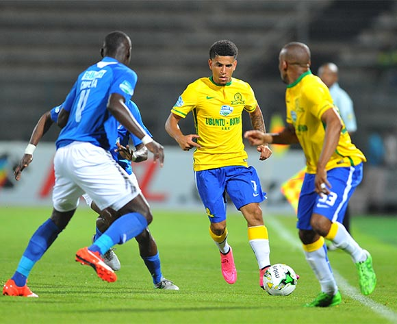 Keagan Dolly of Mamelodi Sundowns challenged by Erick Chipeta of Chippa United during the 2015 Telkom Knockout match between Mamelodi Sundowns and Chippa United at the Lucas Moripe Stadium in Pretoria, South Africa on October 03, 2015 ©Samuel Shivambu/BackpagePix