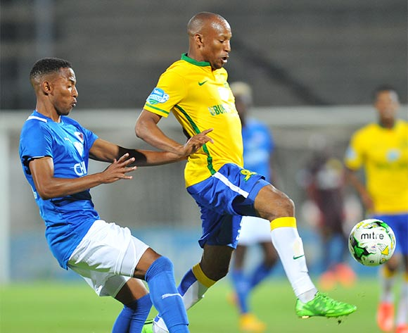 Katlego Mashego of Mamelodi Sundowns challenged by Diamond Thopola of Chippa United during the 2015 Telkom Knockout match between Mamelodi Sundowns and Chippa United at the Lucas Moripe Stadium in Pretoria, South Africa on October 03, 2015 ©Samuel Shivambu/BackpagePix
