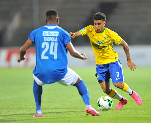 Keagan Dolly of Mamelodi Sundowns challenged by Diamond Thopola of Chippa United during the 2015 Telkom Knockout match between Mamelodi Sundowns and Chippa United at the Lucas Moripe Stadium in Pretoria, South Africa on October 03, 2015 ©Samuel Shivambu/BackpagePix
