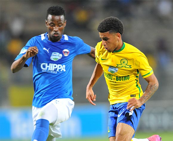 Keagan Dolly of Mamelodi Sundowns challenged by Thamsanqa Sangweni of Chippa United during the 2015 Telkom Knockout match between Mamelodi Sundowns and Chippa United at the Lucas Moripe Stadium in Pretoria, South Africa on October 03, 2015 ©Samuel Shivambu/BackpagePix