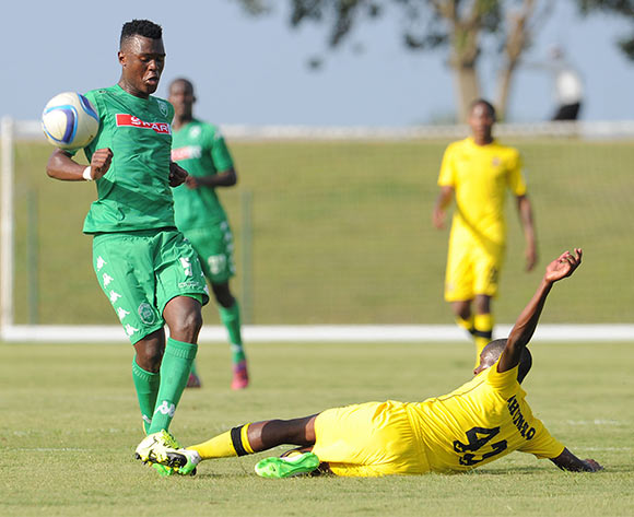 Nkanyiso Zungu of AmaZulu tackled by Mashale Rantabane of Mthatha Bucks during the National First Division 2015/16 match between AmaZulu and Mthatha Bucks  at Princess Magogo Stadium, KwaMashu on the 04 October 2015 ©Muzi Ntombela/BackpagePix