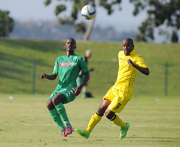 Tapelo Nyongo of AmaZulu challenged by Moses Spandeel of Mthatha Bucks during the National First Division 2015/16 match between AmaZulu and Mthatha Bucks  at Princess Magogo Stadium, KwaMashu on the 04 October 2015 ©Muzi Ntombela/BackpagePix