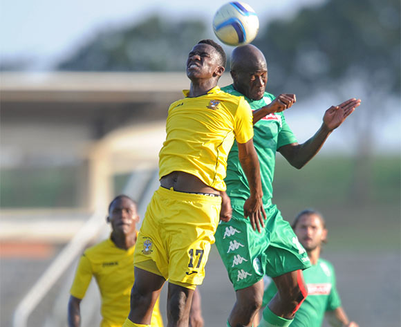 Sifiso Hlanti of AmaZulu and Tumisang Mashele of Mthatha Bucks during the National First Division 2015/16 match between AmaZulu and Mthatha Bucks  at Princess Magogo Stadium, KwaMashu on the 04 October 2015 ©Muzi Ntombela/BackpagePix