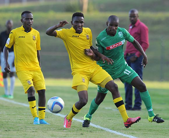 Ayanda Dlamini of AmaZulu battles with Tumisang Mashele of Mthatha Bucks  during the National First Division 2015/16 match between AmaZulu and Mthatha Bucks  at Princess Magogo Stadium, KwaMashu on the 04 October 2015 ©Muzi Ntombela/BackpagePix