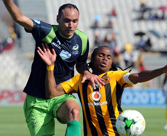 Siphiwe Tshabalala of Kaizer Chiefs is challenged by Eleazer Rodgers of Platinum Stars during the Telkom Knockout Last16 match between Platinum Stars and Kaizer Chiefs on 04   October at Moruleng Stadium  Pic Sydney Mahlangu/ BackpagePix