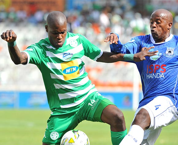 Lerato Lamola of Bloemfontein Celtic challenged by Vincent Kobola of Black Aces during the 2015 Telkom Knockout match between Bloemfontein Celtic and Black Aces at the Free State Stadium in Free State, South Africa on October 04, 2015 ©Samuel Shivambu/BackpagePix