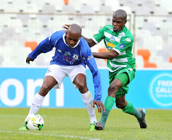 Lehlohonolo Nonyane of Black Aces challenged by Lerato Lamola of Bloemfontein Celtic during the 2015 Telkom Knockout match between Bloemfontein Celtic and Black Aces at the Free State Stadium in Free State, South Africa on October 04, 2015 ©Samuel Shivambu/BackpagePix