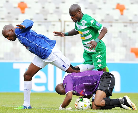 Jackson Mabokgwane of Black Aces challenged by Lerato Lamola of Bloemfontein Celtic during the 2015 Telkom Knockout match between Bloemfontein Celtic and Black Aces at the Free State Stadium in Free State, South Africa on October 04, 2015 ©Samuel Shivambu/BackpagePix
