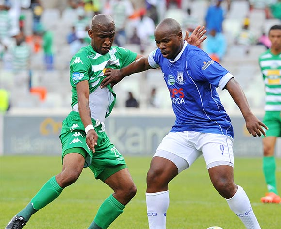 Collins Mbesuma of Black Aces challenged by Alfred Ndengane of Bloemfontein Celtic during the 2015 Telkom Knockout match between Bloemfontein Celtic and Black Aces at the Free State Stadium in Free State, South Africa on October 04, 2015 ©Samuel Shivambu/BackpagePix
