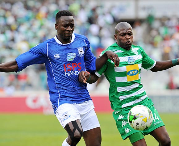 Lerato Lamola of Bloemfontein Celtic challenged by Limbikani Mzava of Black Aces during the 2015 Telkom Knockout match between Bloemfontein Celtic and Black Aces at the Free State Stadium in Free State, South Africa on October 04, 2015 ©Samuel Shivambu/BackpagePix