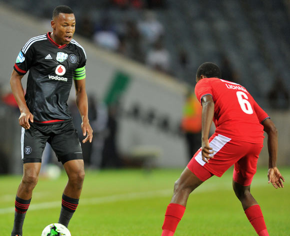 Happy Jele of Orlando Pirates challenged by Kabelo Lichaba of University Pretoria during the 2015 Telkom Knockout match between Orlando Pirates and University of Pretoria at the Orlando Stadium in Johannesburg, South Africa on October 16, 2015 ©Samuel Shivambu/BackpagePix