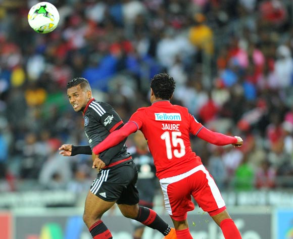 Kermit Erasmus of Orlando Pirates challenged by Partson Juare of University of Pretoria during the 2015 Telkom Knockout match between Orlando Pirates and University of Pretoria at the Orlando Stadium in Johannesburg, South Africa on October 16, 2015 ©Samuel Shivambu/BackpagePix