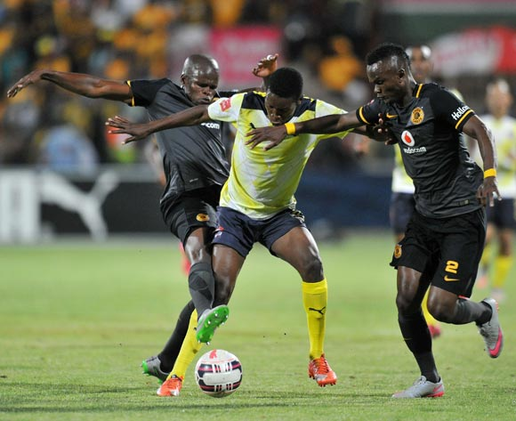 Wiseman Maluleke of Jomo Cosmos battles with Siboniso Gaxa and Willard Katsande of Kaizer Chiefs during the Absa Premiership 2015/16 match between Jomo Cosmos and Kaizer Chiefs at Olen Park, Potchefstoom on the 20 October 2015 ©Muzi Ntombela/BackpagePix