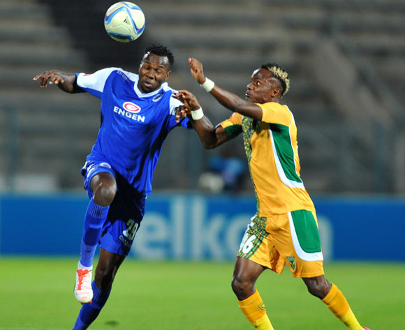 Bongani Khumalo of Supersport United challenged by Kudakwashe Mahachi of Golden Arrows during the Absa Premiership match between Supersport United and Golden Arrows at the Lucas Moripe Stadium in Pretoria, South Africa on October 20, 2015 ©Samuel Shivambu/BackpagePix
