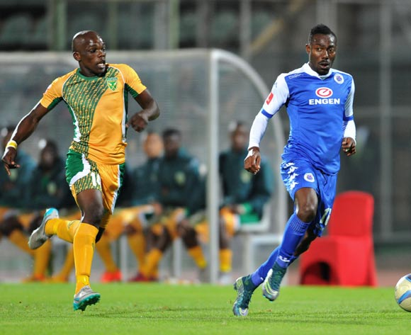 Dove Wome of Supersport United challenged by Siyabonga Dube of Golden Arrows during the Absa Premiership match between Supersport United and Golden Arrows at the Lucas Moripe Stadium in Pretoria, South Africa on October 20, 2015 ©Samuel Shivambu/BackpagePix