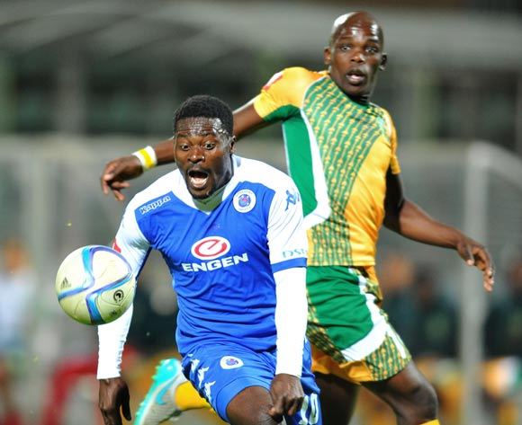 Kingston Nkhatha of Supersport United challenged by Siyabonga Dube of Golden Arrows during the Absa Premiership match between Supersport United and Golden Arrows at the Lucas Moripe Stadium in Pretoria, South Africa on October 20, 2015 ©Samuel Shivambu/BackpagePix