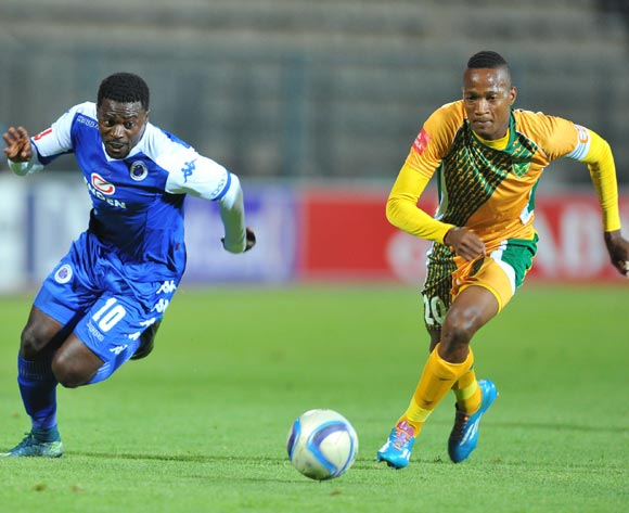 Kingston Nkhatha of Supersport United challenged by Matome Madimabe of Golden Arrows during the Absa Premiership match between Supersport United and Golden Arrows at the Lucas Moripe Stadium in Pretoria, South Africa on October 20, 2015 ©Samuel Shivambu/BackpagePix