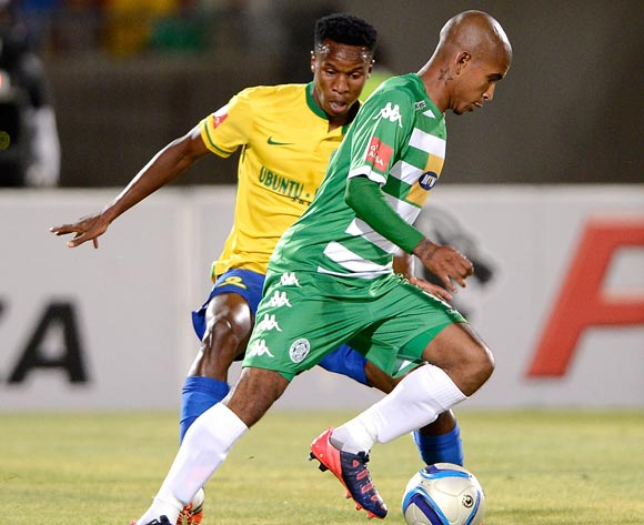 Keegan Buchanan of Bloemfontein Celtic FC and Themba Zwane of Mamelodi Sundowns during the Absa Premiership match between Bloemfontein Celtic FC and Mamelodi Sundowns at the Seisa Ramabodu Stadium  on 21 October 2015. ©Gerhard Steenkamp/BackpagePix