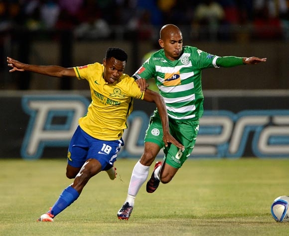 Themba Zwane of Mamelodi Sundowns and Keegan Buchanan of Bloemfontein Celtic FC. during the Absa Premiership match between Bloemfontein Celtic FC and Mamelodi Sundowns at the Seisa Ramabodu Stadium  on 21 October 2015. ©Gerhard Steenkamp/BackpagePix