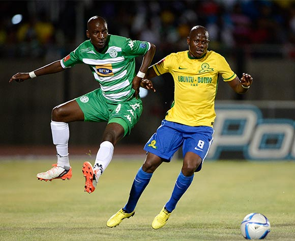Musa Nyatama of Bloemfontein and Hlompho Kekana of Mamelodi Sundowns during the Absa Premiership match between Bloemfontein Celtic FC and Mamelodi Sundowns at the Seisa Ramabodu Stadium  on 21 October 2015. ©Gerhard Steenkamp/BackpagePix
