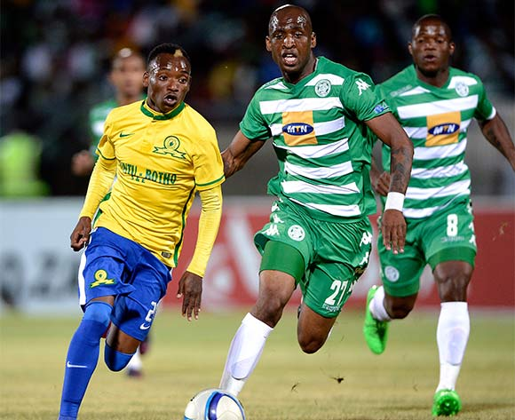 Khama Billiat of Mamelodi Sundowns and Alfred Ndengane of Bloemfontein Celtic FC. during the Absa Premiership match between Bloemfontein Celtic FC and Mamelodi Sundowns at the Seisa Ramabodu Stadium  on 21 October 2015. ©Gerhard Steenkamp/BackpagePix