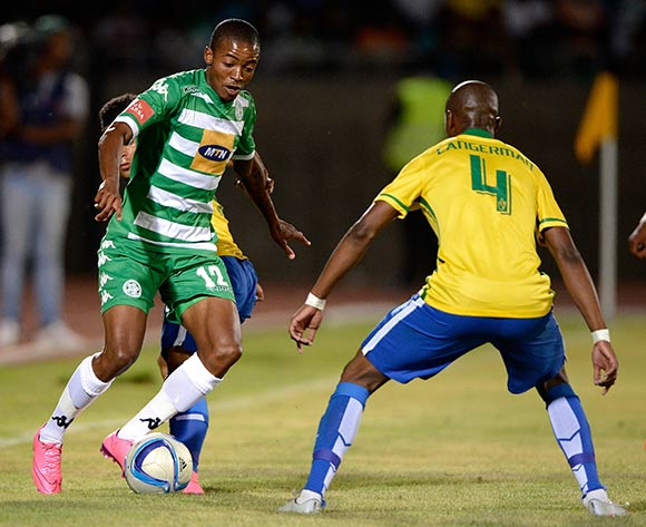 Thapelo Morena of Bloemfontein Celtic FC and Tebogo Langerman of Mamelod during the Absa Premiership match between Bloemfontein Celtic FC and Mamelodi Sundowns at the Seisa Ramabodu Stadium  on 21 October 2015. ©Gerhard Steenkamp/BackpagePix