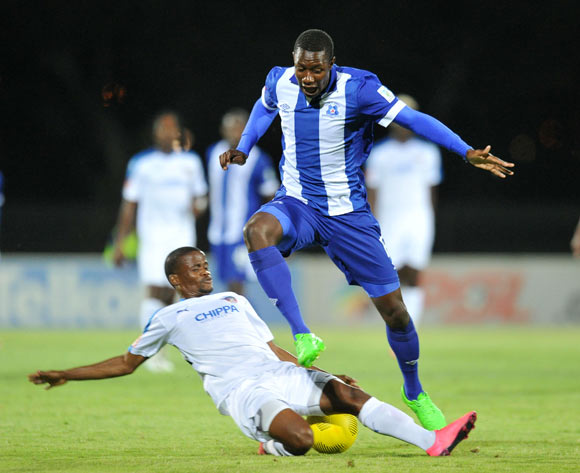 Evans Rusike of Maritzburg United tackled by Nkosinathi Mthiyane of Chippa United during the Absa Premiership 2015/16 match between Maritzburg United and Chippa United at Harry Gwala Stadium, Pietermaritzburg on the 21 October 2015 ©Muzi Ntombela/BackpagePix