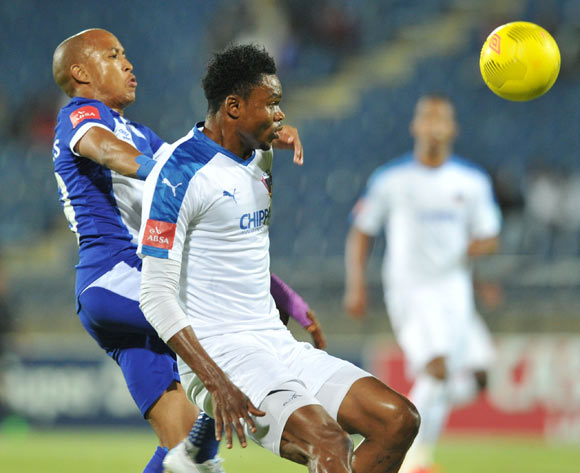 James Okwuosa of Chippa United  (right) challenged by Kurt Lentjies of Maritzburg United