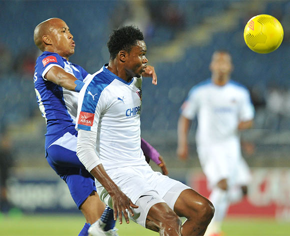 James Okwousa of Chippa United challenged by Kurt Lentjies of Maritzburg United during the Absa Premiership 2015/16 match between Maritzburg United and Chippa United at Harry Gwala Stadium, Pietermaritzburg on the 21 October 2015 ©Muzi Ntombela/BackpagePix