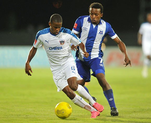Nkosinathi Mthiyane of Chippa United challenged by Siyabulela Shai of Maritzburg United during the Absa Premiership 2015/16 match between Maritzburg United and Chippa United at Harry Gwala Stadium, Pietermaritzburg on the 21 October 2015 ©Muzi Ntombela/BackpagePix