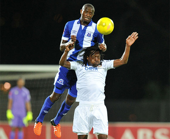 Kwanda Mngonyama of Maritzburg United battles with Lerato Chabangu of Chippa United during the Absa Premiership 2015/16 match between Maritzburg United and Chippa United at Harry Gwala Stadium, Pietermaritzburg on the 21 October 2015 ©Muzi Ntombela/BackpagePix