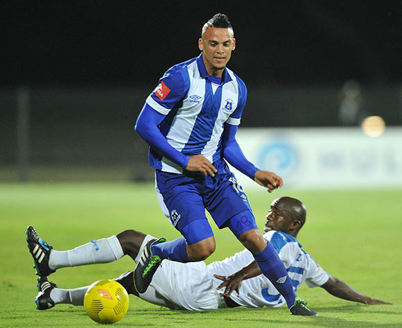 Ryan De Jong of Maritzburg United tackled by Sandile Zuke of Chippa United during the Absa Premiership 2015/16 match between Maritzburg United and Chippa United at Harry Gwala Stadium, Pietermaritzburg on the 21 October 2015 ©Muzi Ntombela/BackpagePix