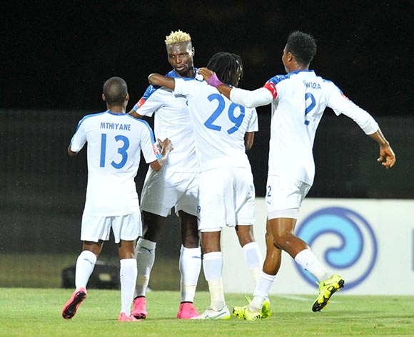Aristide Bance of Chippa United celebrates his goal with teammates during the Absa Premiership 2015/16 match between Maritzburg United and Chippa United at Harry Gwala Stadium, Pietermaritzburg on the 21 October 2015 ©Muzi Ntombela/BackpagePix