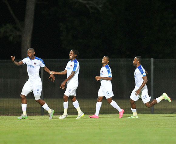 Mark Mayambela of Chippa United celebrates his goal with teammates during the Absa Premiership 2015/16 match between Maritzburg United and Chippa United at Harry Gwala Stadium, Pietermaritzburg on the 21 October 2015 ©Muzi Ntombela/BackpagePix