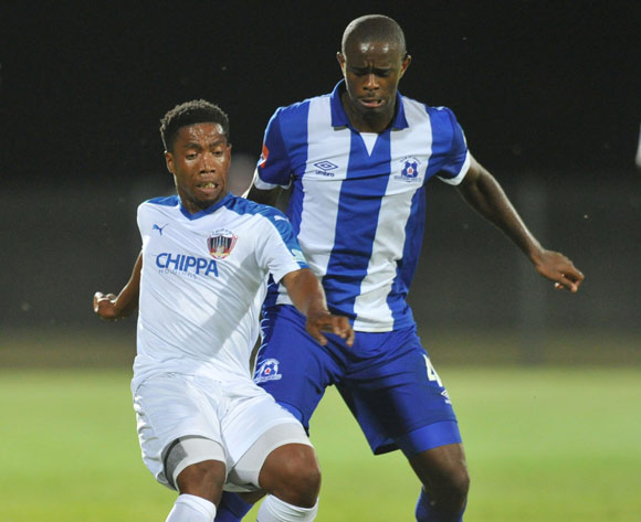 Buyani Sali of Chippa Unitedchallenged by Kwanda Mngonyama of Maritzburg United during the Absa Premiership 2015/16 match between Maritzburg United and Chippa United at Harry Gwala Stadium, Pietermaritzburg on the 21 October 2015 ©Muzi Ntombela/BackpagePix